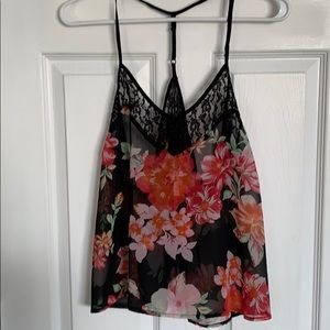 Floral and black sheer tank with lace. NWOT Large.
